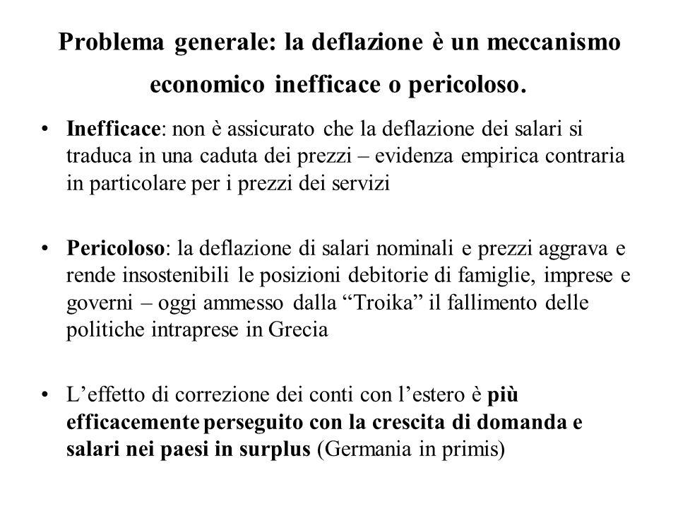 Problema generale: la deflazione è un meccanismo economico inefficace o pericoloso. Inefficace: non è assicurato che la deflazione dei salari si tradu