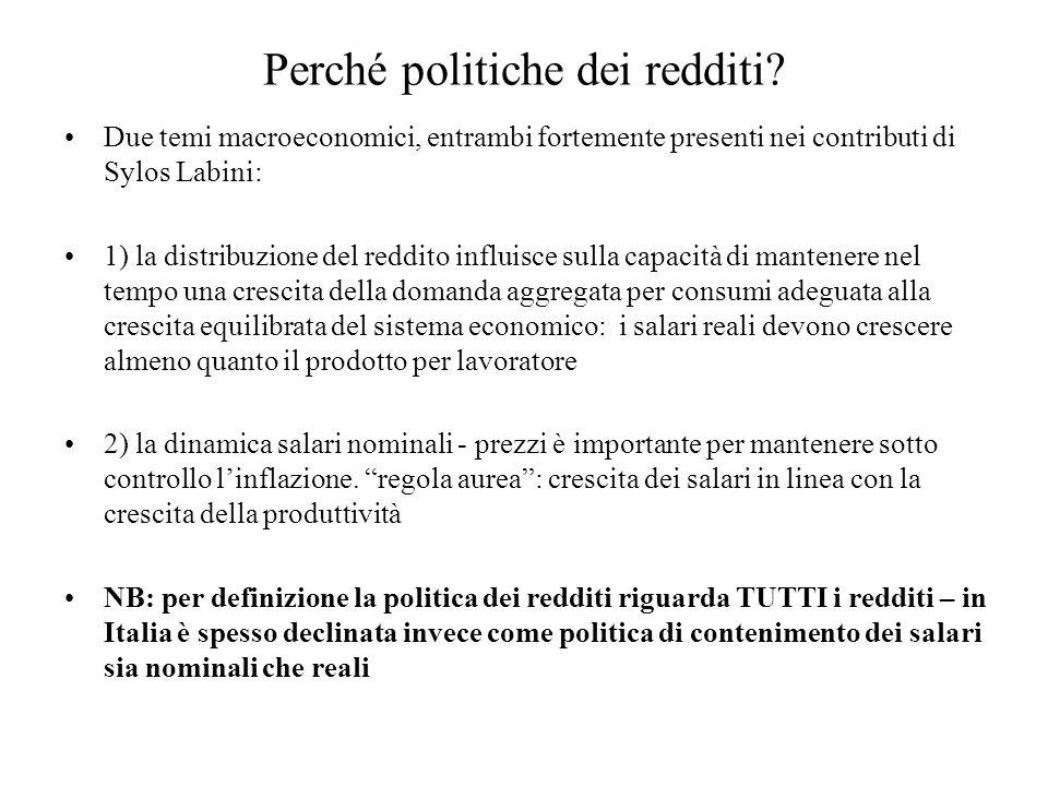 Perché politiche dei redditi? Due temi macroeconomici, entrambi fortemente presenti nei contributi di Sylos Labini: 1) la distribuzione del reddito in
