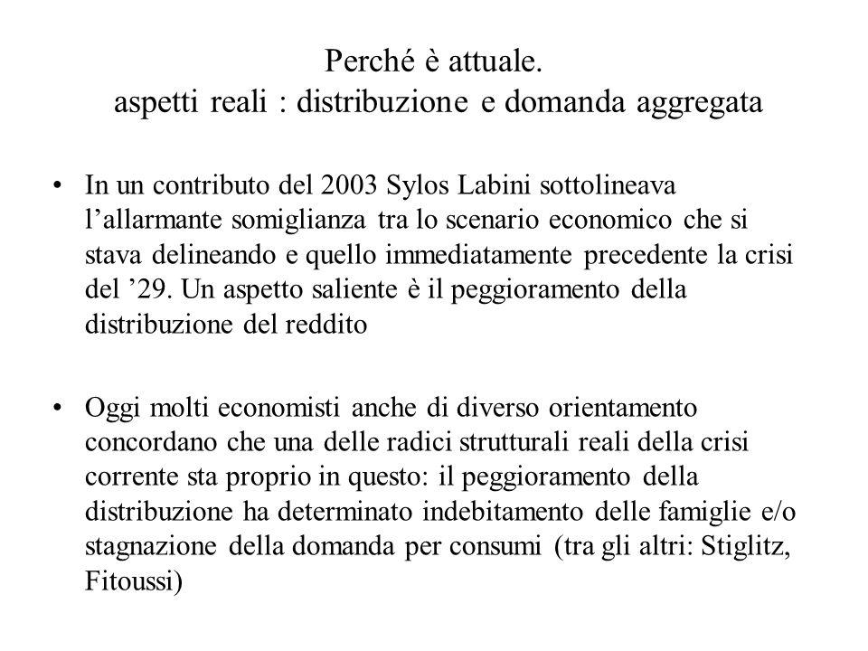 Perché è attuale. aspetti reali : distribuzione e domanda aggregata In un contributo del 2003 Sylos Labini sottolineava lallarmante somiglianza tra lo