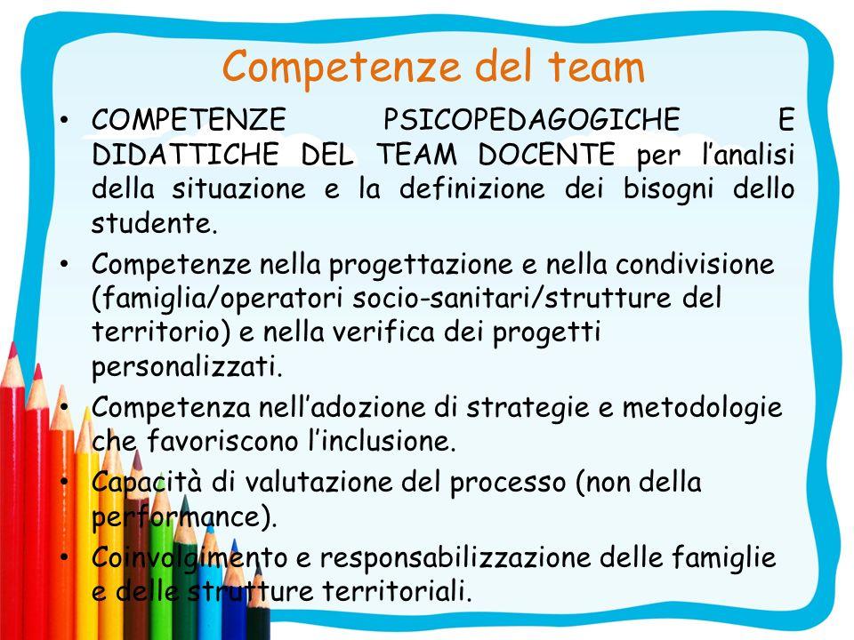 Competenze del team COMPETENZE PSICOPEDAGOGICHE E DIDATTICHE DEL TEAM DOCENTE per lanalisi della situazione e la definizione dei bisogni dello student