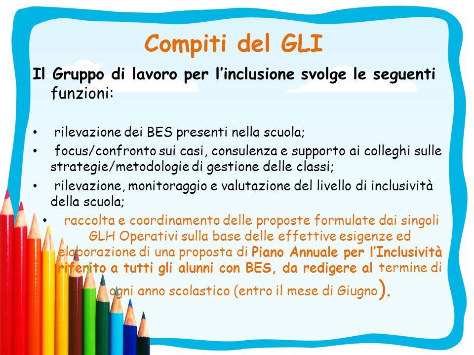 Compiti del GLI Il Gruppo di lavoro per linclusione svolge le seguenti funzioni: rilevazione dei BES presenti nella scuola; focus/confronto sui casi,