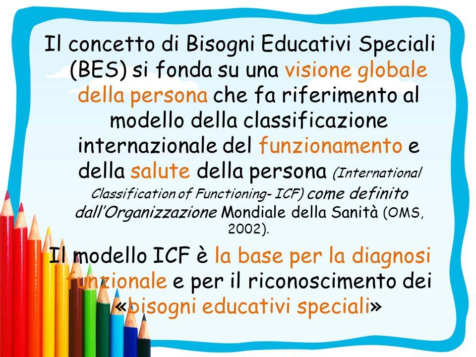 Il concetto di Bisogni Educativi Speciali (BES) si fonda su una visione globale della persona che fa riferimento al modello della classificazione inte