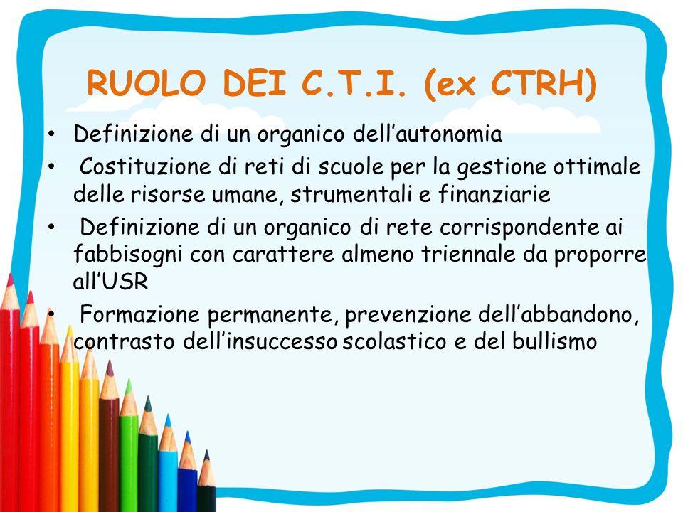 RUOLO DEI C.T.I. (ex CTRH) Definizione di un organico dellautonomia Costituzione di reti di scuole per la gestione ottimale delle risorse umane, strum