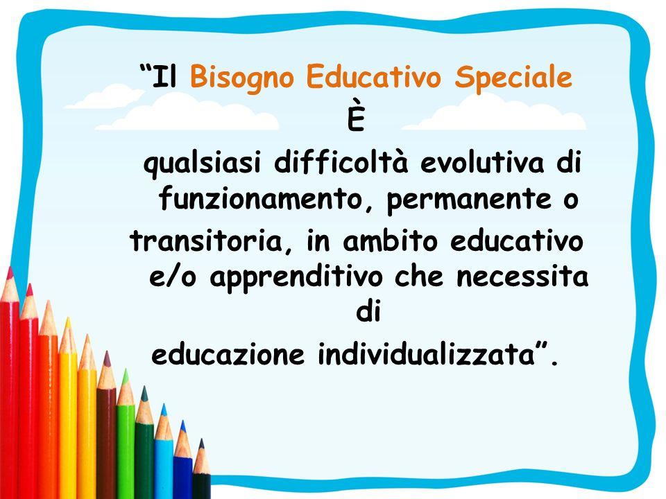 Il Bisogno Educativo Speciale È qualsiasi difficoltà evolutiva di funzionamento, permanente o transitoria, in ambito educativo e/o apprenditivo che ne