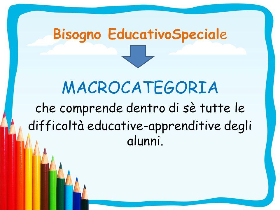 Bisogno EducativoSpeciale MACROCATEGORIA che comprende dentro di sè tutte le difficoltà educative-apprenditive degli alunni.