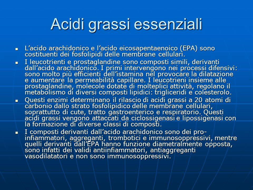 Acidi grassi essenziali Lacido arachidonico e lacido eicosapentaenoico (EPA) sono costituenti dei fosfolipidi delle membrane cellulari. Lacido arachid