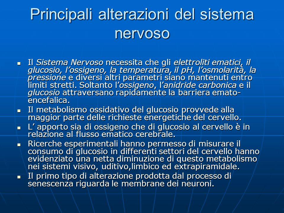 Principali alterazioni del sistema nervoso Il Sistema Nervoso necessita che gli elettroliti ematici, il glucosio, lossigeno, la temperatura, il pH, lo