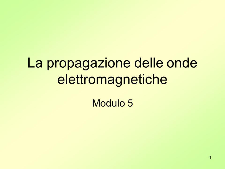12 Propagazione (1) Bisogna distinguere subito due circostanze totalmente diverse: Propagazione delle onde elettromagnetiche nel vuoto.