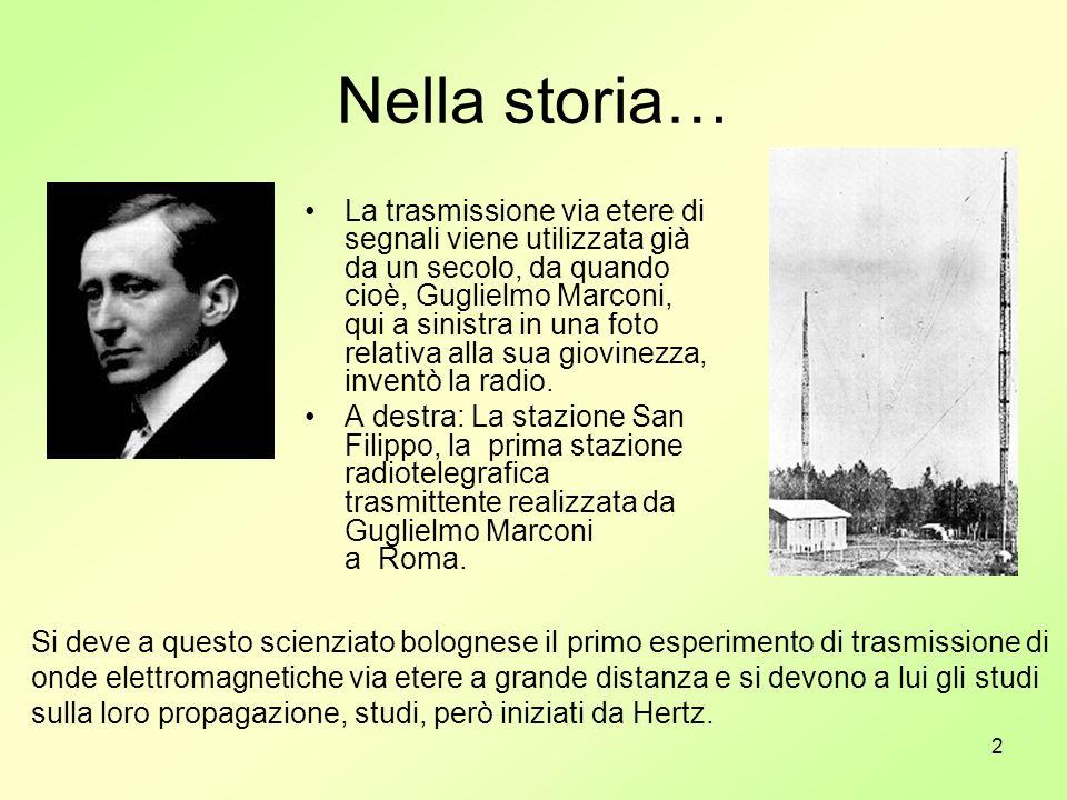 2 Nella storia… La trasmissione via etere di segnali viene utilizzata già da un secolo, da quando cioè, Guglielmo Marconi, qui a sinistra in una foto