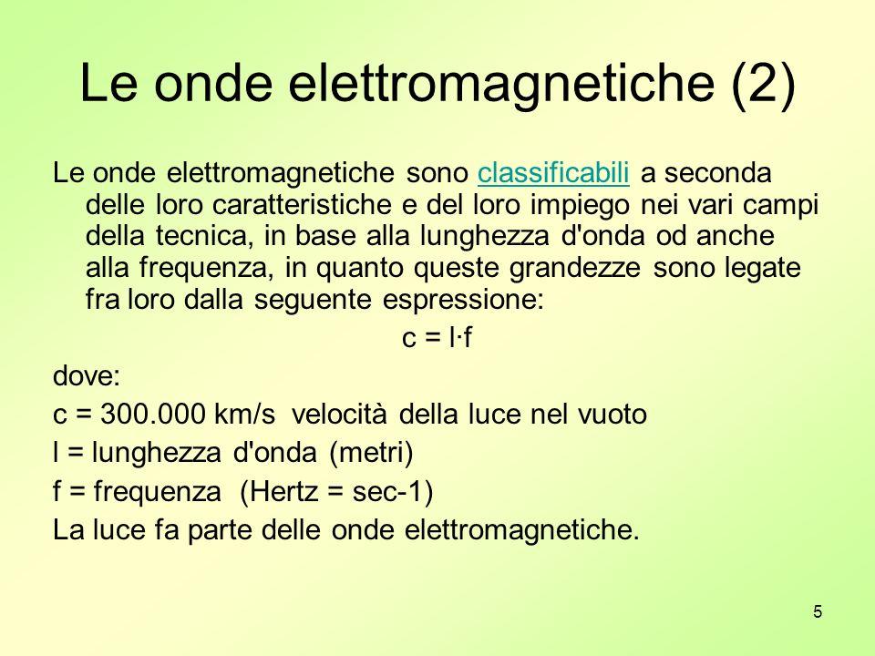 5 Le onde elettromagnetiche (2) Le onde elettromagnetiche sono classificabili a seconda delle loro caratteristiche e del loro impiego nei vari campi d