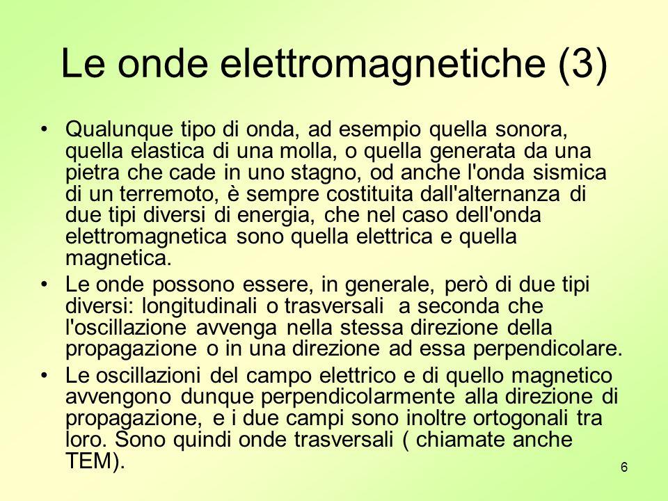 7 La polarizzazione delle onde elettromagnetiche (1) Le onde elettromagnetiche poi, possono avere polarizzazione lineare, circolare ed ellittica a seconda che nel propagarsi nello spazio, il vettore campo elettrico si muova su di una retta, su di un cerchio o su di un ellisse.