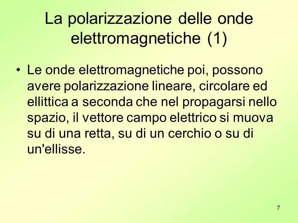 8 La polarizzazione delle onde elettromagnetiche (2) Le onde elettromagnetiche sono sempre polarizzate, cioè il campo elettrico che le compone, oscilla in diversi modi mentre l onda si propaga.
