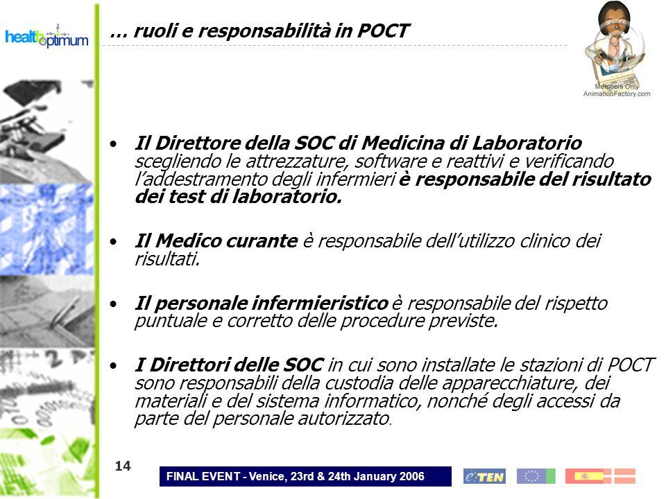 FINAL EVENT - Venice, 23rd & 24th January 2006 14 … ruoli e responsabilità in POCT Il Direttore della SOC di Medicina di Laboratorio scegliendo le att