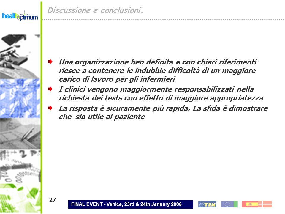FINAL EVENT - Venice, 23rd & 24th January 2006 27 Discussione e conclusioni. Una organizzazione ben definita e con chiari riferimenti riesce a contene