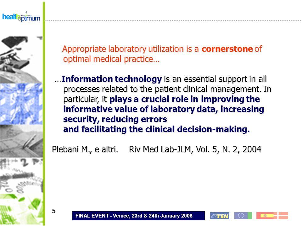 FINAL EVENT - Venice, 23rd & 24th January 2006 16 Lo standard di messaggistica HL7 e le linee guida IHE definiscono lo scambio dei dati, il controllo di qualità, la trasmissione dei risultati e dei referti, Il colloquio tra POC-DM (concentratore), POC-DM centrale (NET-Care, Menarini) e sistema informatico di laboratorio (Italab C/S, Dianoema) è in formato HL7, Il referto è archiviato secondo le usuali procedure aziendali di gestione dei referti ed è a disposizione degli utenti autorizzati.