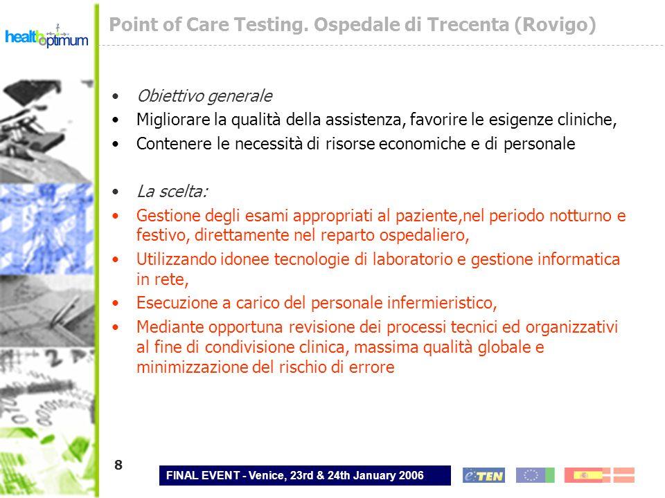 FINAL EVENT - Venice, 23rd & 24th January 2006 8 Point of Care Testing. Ospedale di Trecenta (Rovigo) Obiettivo generale Migliorare la qualità della a