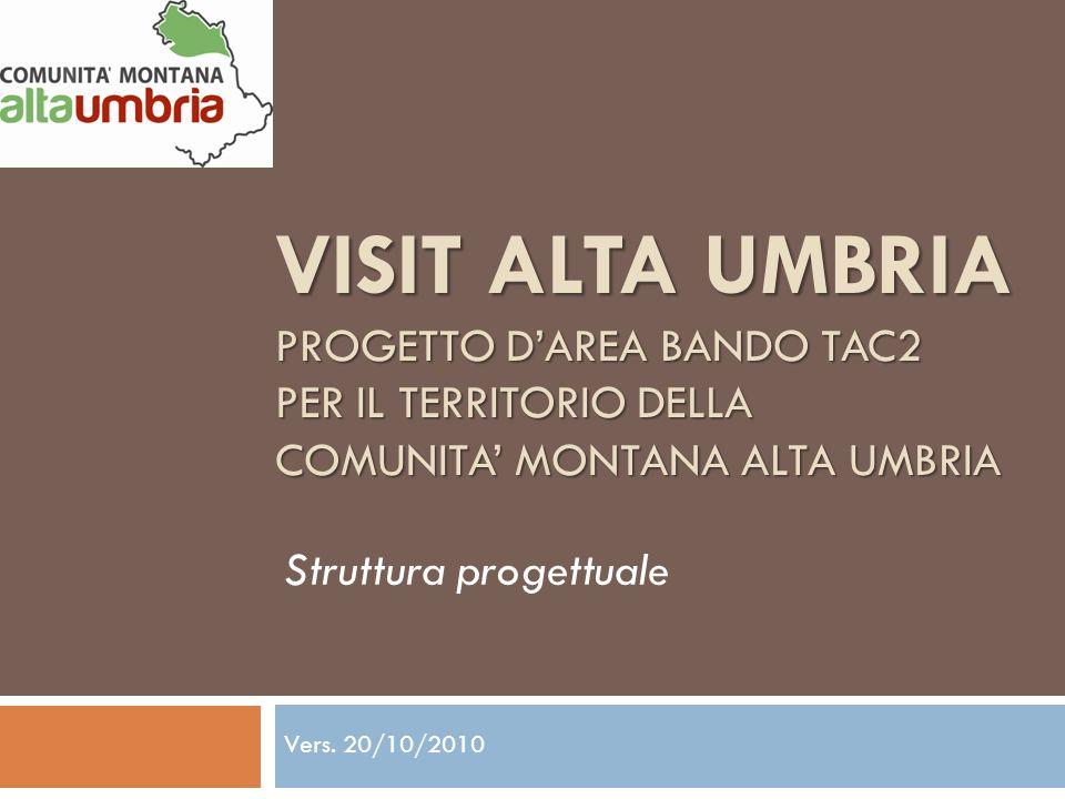 VISIT ALTA UMBRIA PROGETTO DAREA BANDO TAC2 PER IL TERRITORIO DELLA COMUNITA MONTANA ALTA UMBRIA Struttura progettuale Vers. 20/10/2010