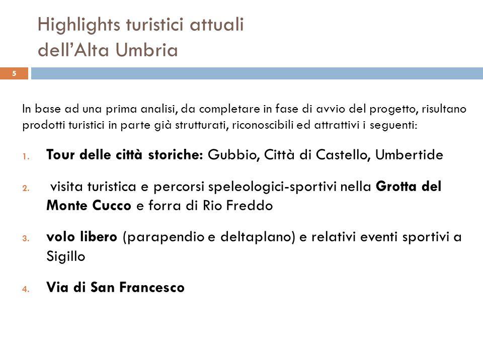Highlights turistici attuali dellAlta Umbria In base ad una prima analisi, da completare in fase di avvio del progetto, risultano prodotti turistici i