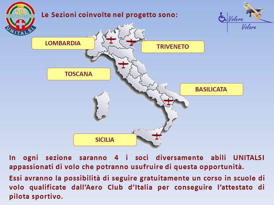 LOMBARDIA TRIVENETO TOSCANA BASILICATA SICILIA Le Sezioni coinvolte nel progetto sono: In ogni sezione saranno 4 i soci diversamente abili UNITALSI ap