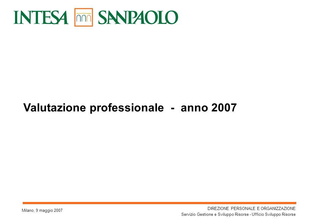 DIREZIONE PERSONALE E ORGANIZZAZIONE Servizio Gestione e Sviluppo Risorse - Ufficio Sviluppo Risorse 1 Valutazione professionale - anno 2007 Milano, 9