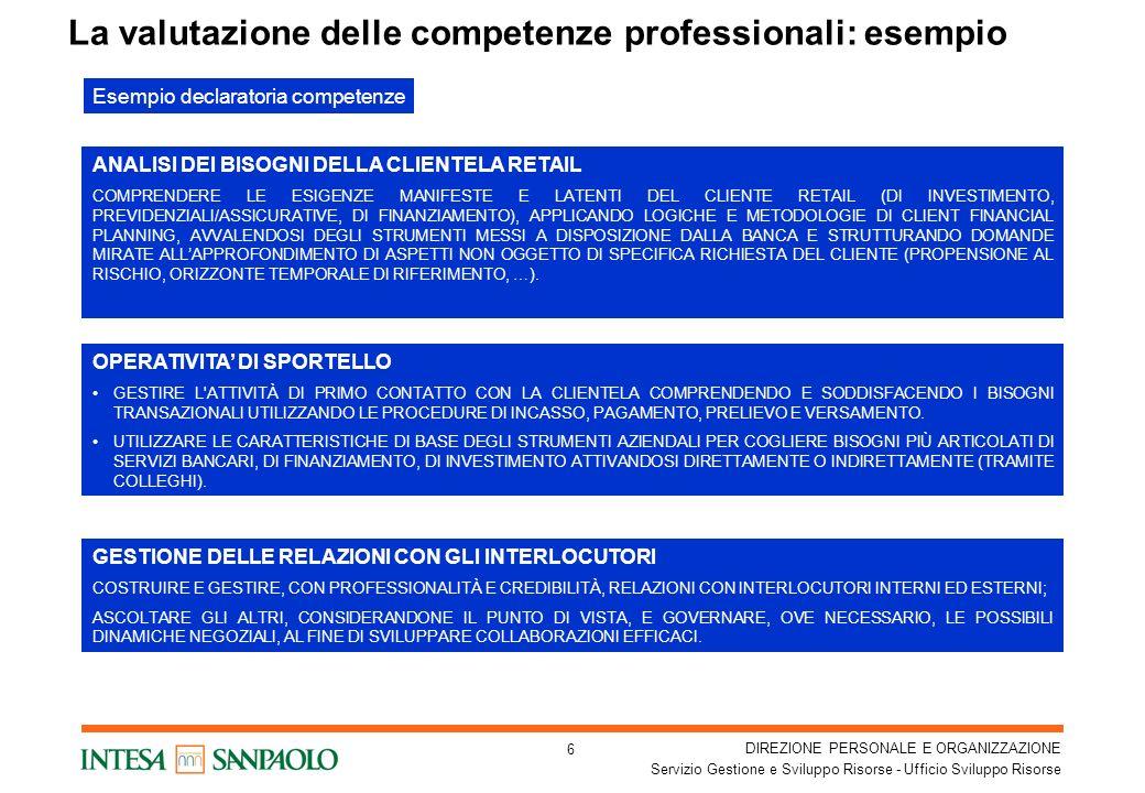 DIREZIONE PERSONALE E ORGANIZZAZIONE Servizio Gestione e Sviluppo Risorse - Ufficio Sviluppo Risorse 17 La scheda di valutazione – Anagrafica e Seniority SCHEDA DI VALUTAZIONE PROFESSIONALE – Anno 2007 - Matricola: Cognome: Nome: Unità Organizzativa: Ruolo: Data rilevazione: SENIORITY PROFESSIONALE Seniority professionale e competenze richieste Livello Osservazioni
