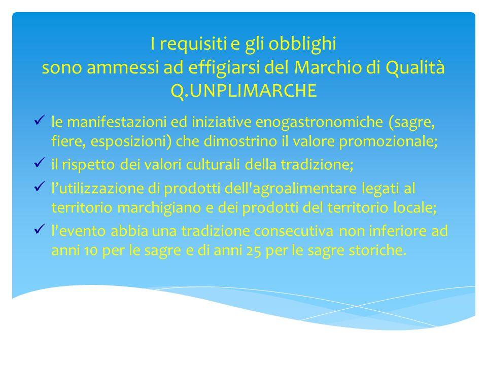 I requisiti e gli obblighi sono ammessi ad effigiarsi del Marchio di Qualità Q.UNPLIMARCHE le manifestazioni ed iniziative enogastronomiche (sagre, fi