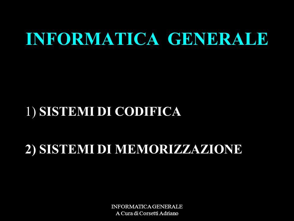 INFORMATICA GENERALE A Cura di Corsetti Adriano INFORMATICA GENERALE 1) SISTEMI DI CODIFICA 2) SISTEMI DI MEMORIZZAZIONE