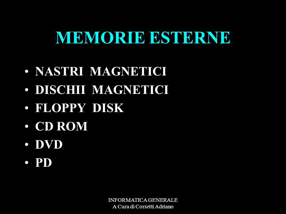 INFORMATICA GENERALE A Cura di Corsetti Adriano MEMORIE ESTERNE NASTRI MAGNETICI DISCHII MAGNETICI FLOPPY DISK CD ROM DVD PD