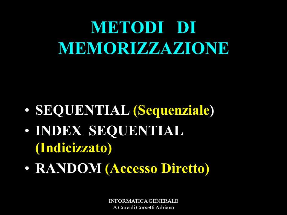 INFORMATICA GENERALE A Cura di Corsetti Adriano METODI DI MEMORIZZAZIONE SEQUENTIAL (Sequenziale) INDEX SEQUENTIAL (Indicizzato) RANDOM (Accesso Diret