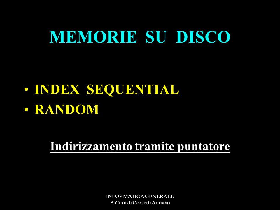 INFORMATICA GENERALE A Cura di Corsetti Adriano MEMORIE SU DISCO INDEX SEQUENTIAL RANDOM Indirizzamento tramite puntatore