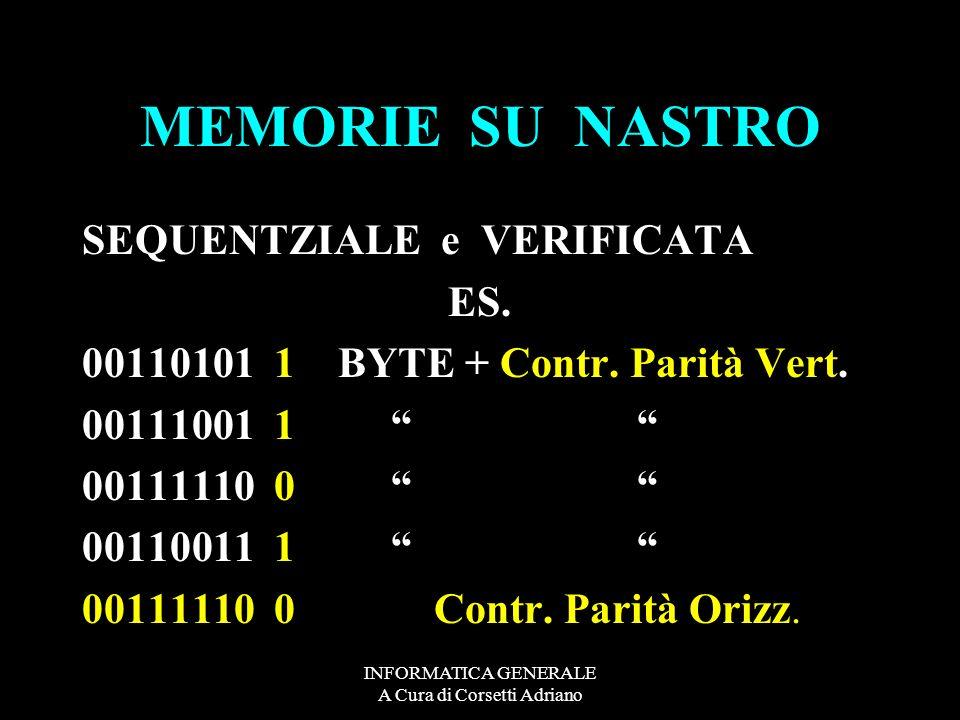 INFORMATICA GENERALE A Cura di Corsetti Adriano MEMORIE SU NASTRO SEQUENTZIALE e VERIFICATA ES. 00110101 1 BYTE + Contr. Parità Vert. 00111001 1 00111