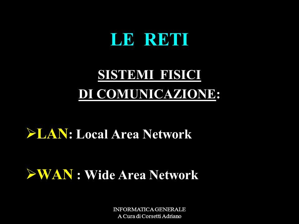 INFORMATICA GENERALE A Cura di Corsetti Adriano LE RETI SISTEMI FISICI DI COMUNICAZIONE: LAN : Local Area Network WAN : Wide Area Network