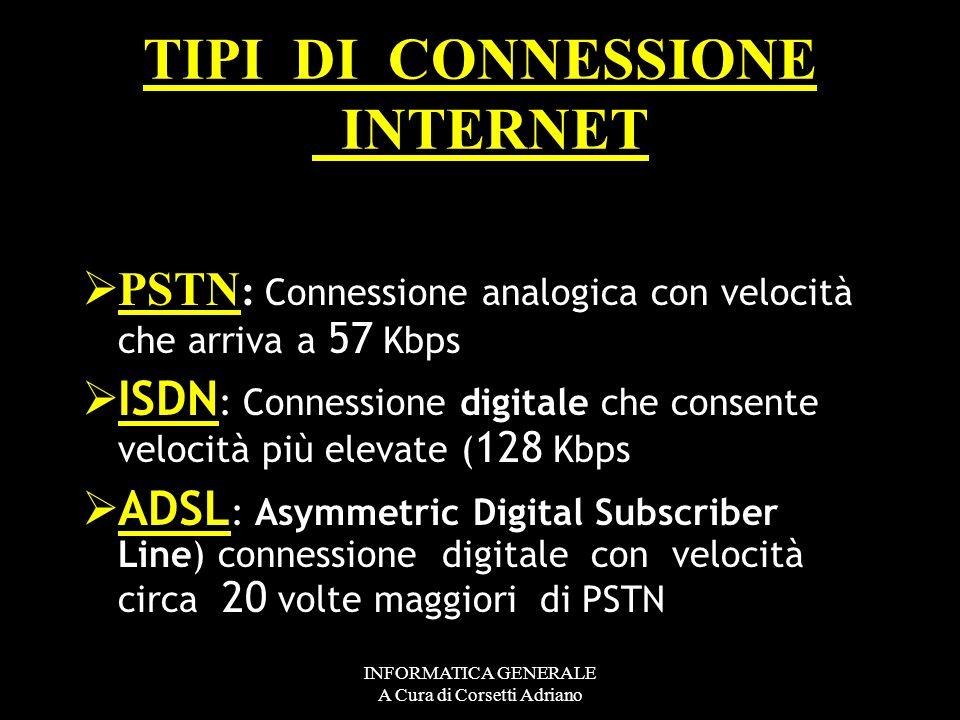 INFORMATICA GENERALE A Cura di Corsetti Adriano TIPI DI CONNESSIONE INTERNET PSTN : Connessione analogica con velocità che arriva a 57 Kbps ISDN : Con