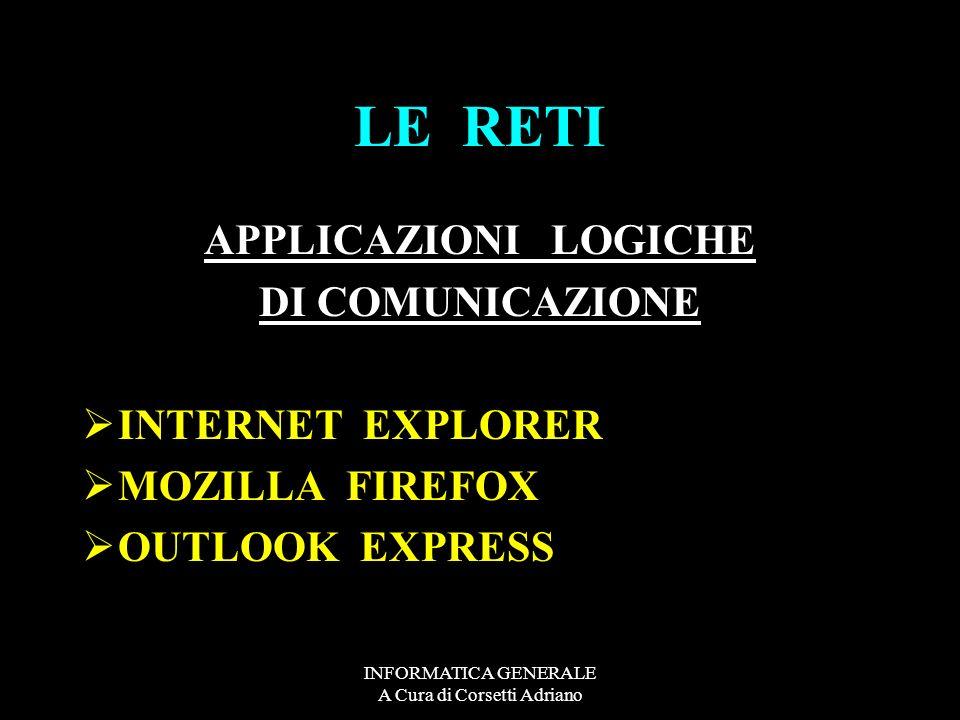 INFORMATICA GENERALE A Cura di Corsetti Adriano LE RETI APPLICAZIONI LOGICHE DI COMUNICAZIONE INTERNET EXPLORER MOZILLA FIREFOX OUTLOOK EXPRESS
