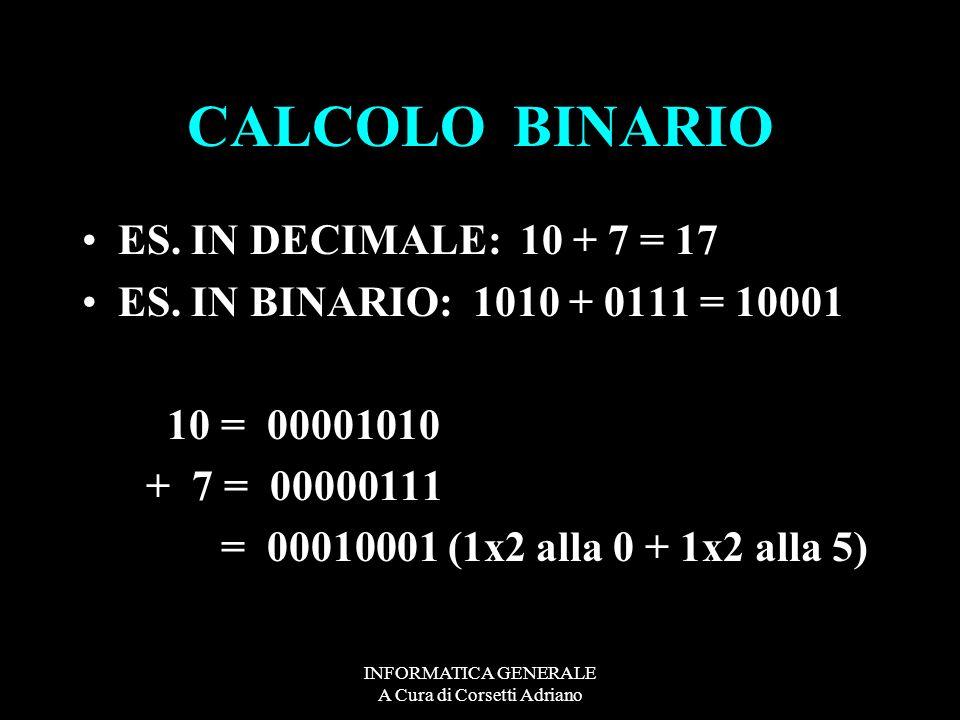 INFORMATICA GENERALE A Cura di Corsetti Adriano CALCOLO BINARIO ES. IN DECIMALE: 10 + 7 = 17 ES. IN BINARIO: 1010 + 0111 = 10001 10 = 00001010 + 7 = 0