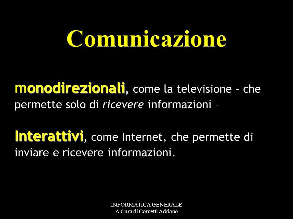 INFORMATICA GENERALE A Cura di Corsetti Adriano La rete è un insieme di fili intersecati tra loro. Ogni intersezione è un nodo della rete. Le reti