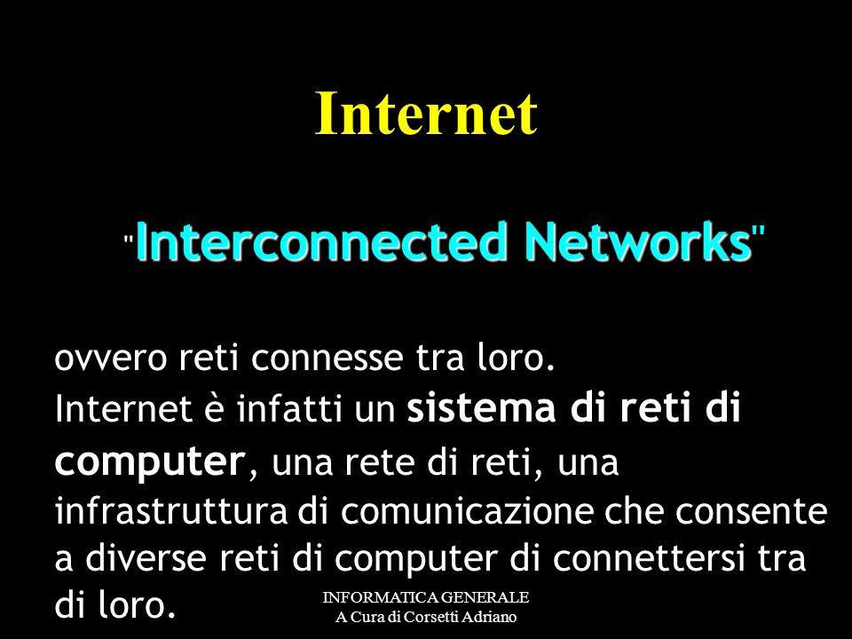INFORMATICA GENERALE A Cura di Corsetti Adriano LA RETE DELLE RETI Internet