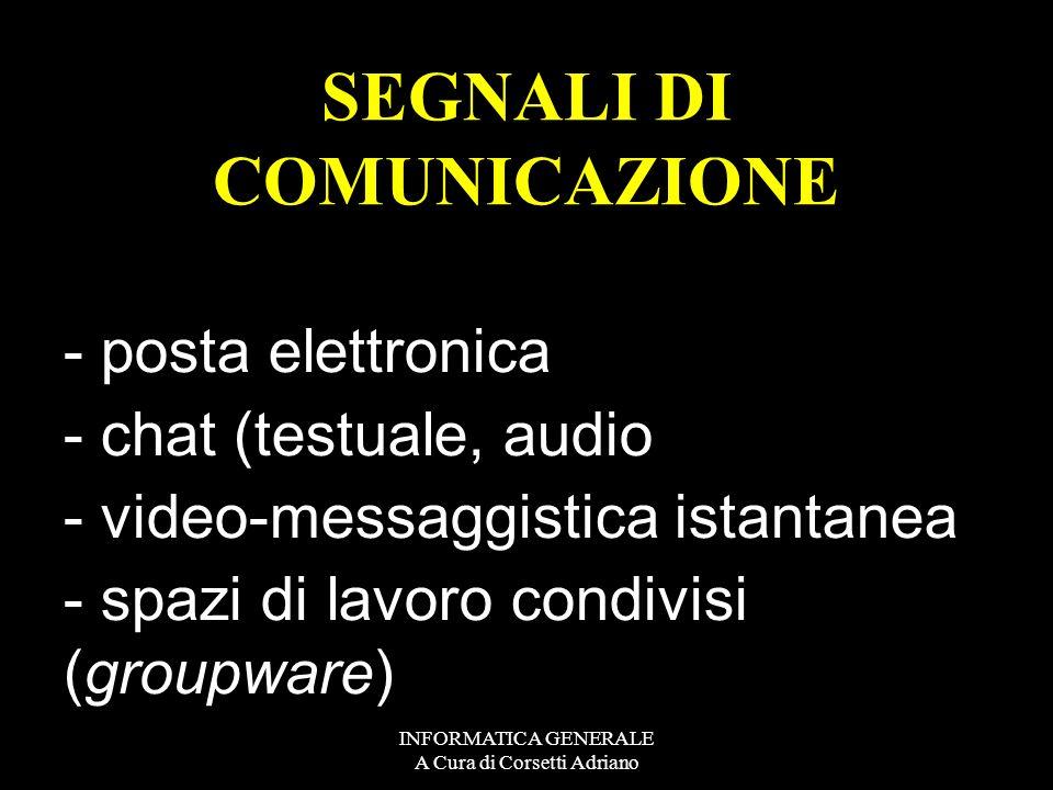 INFORMATICA GENERALE A Cura di Corsetti Adriano - risorse fisiche : stampanti, dischi, - nastri, ecc. - risorse di calcolo : programmi - residenti sul