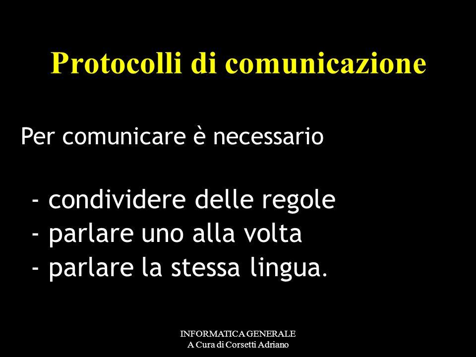 INFORMATICA GENERALE A Cura di Corsetti Adriano UN PROTOCOLLO DI COMUNICAZIONE: Ovvero UN INSIEME DI REGOLE DI DIALOGO COMUNICARE CON…