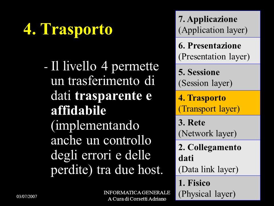 INFORMATICA GENERALE A Cura di Corsetti Adriano Il livello di rete determina il modo in cui le informazioni sono instradate dal nodo di provenienza a