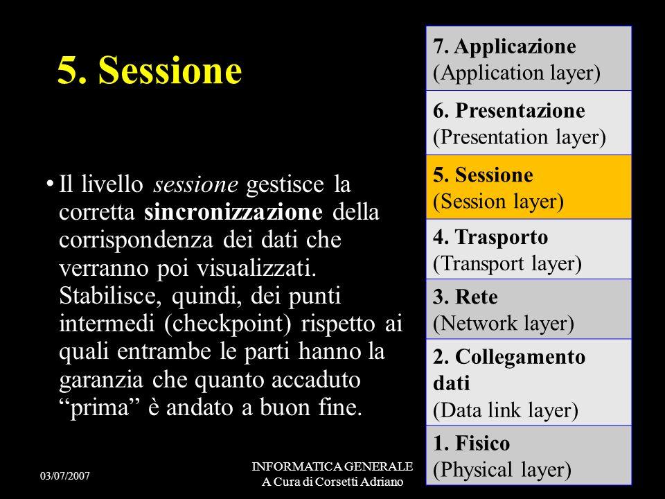 INFORMATICA GENERALE A Cura di Corsetti Adriano - Il livello 4 permette un trasferimento di dati trasparente e affidabile (implementando anche un cont