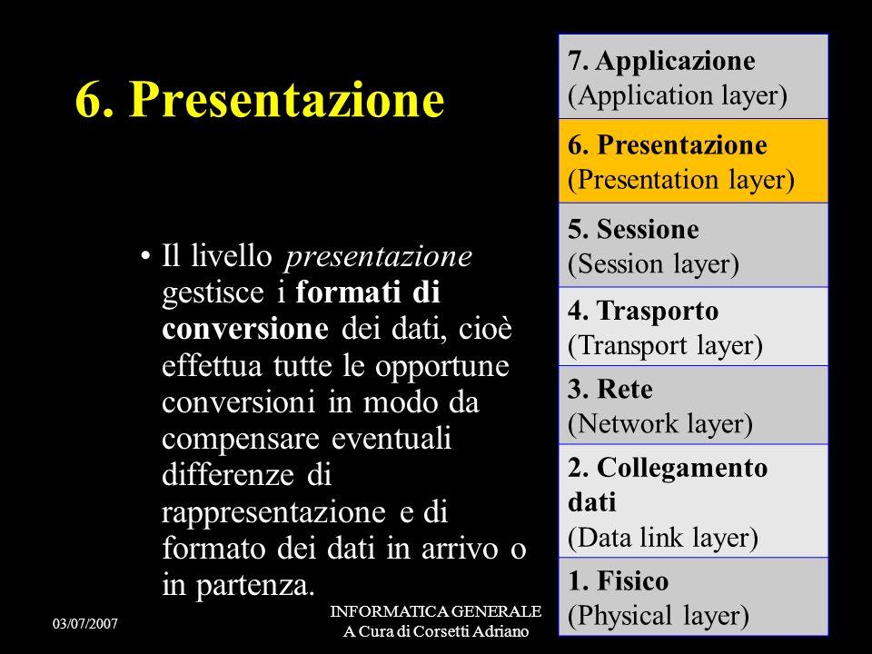 INFORMATICA GENERALE A Cura di Corsetti Adriano Il livello sessione gestisce la corretta sincronizzazione della corrispondenza dei dati che verranno p