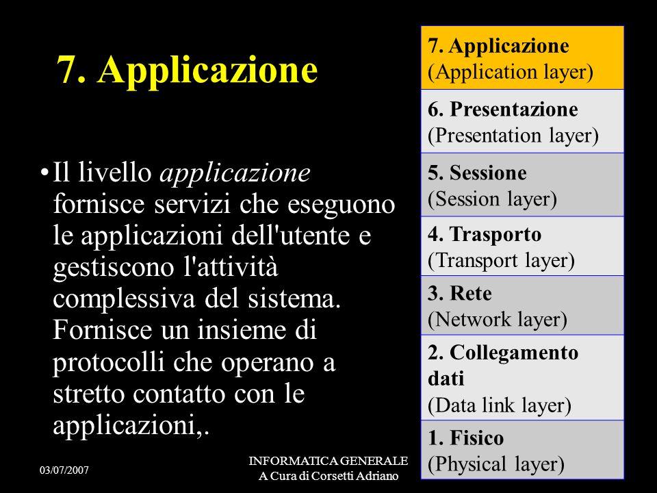 INFORMATICA GENERALE A Cura di Corsetti Adriano Il livello presentazione gestisce i formati di conversione dei dati, cioè effettua tutte le opportune