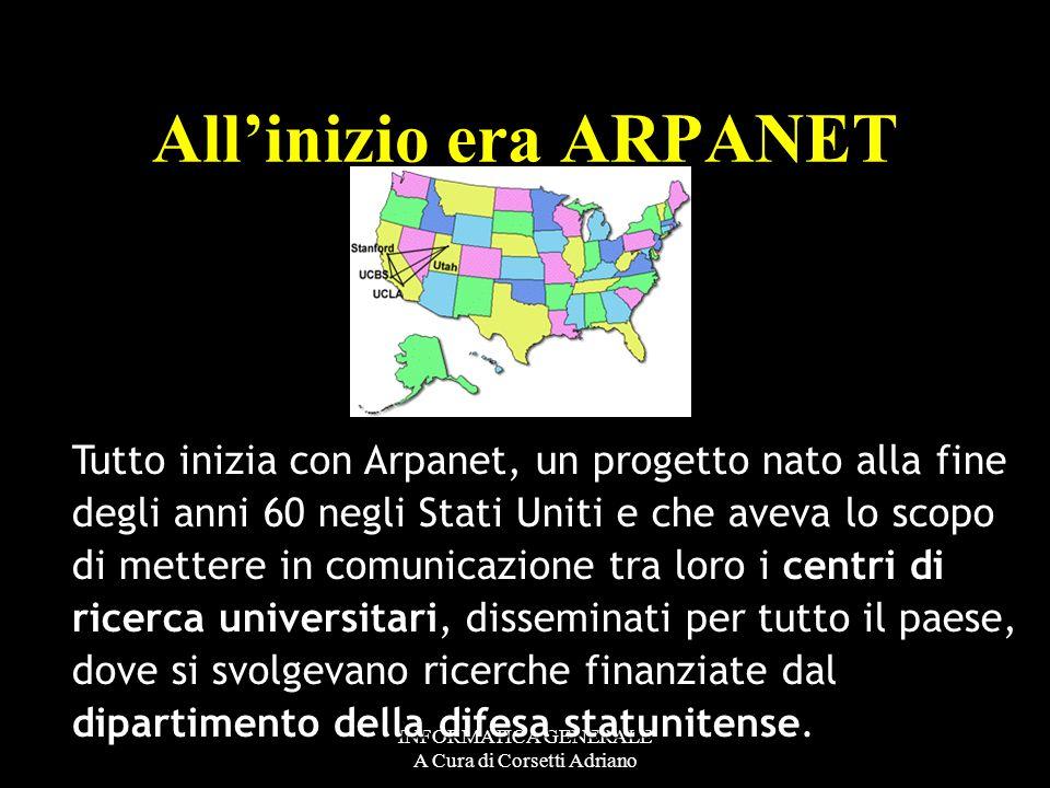 INFORMATICA GENERALE A Cura di Corsetti Adriano agglomerato di reti reti telefoniche pubbliche Non è dunque una rete omogenea, ma è un agglomerato di