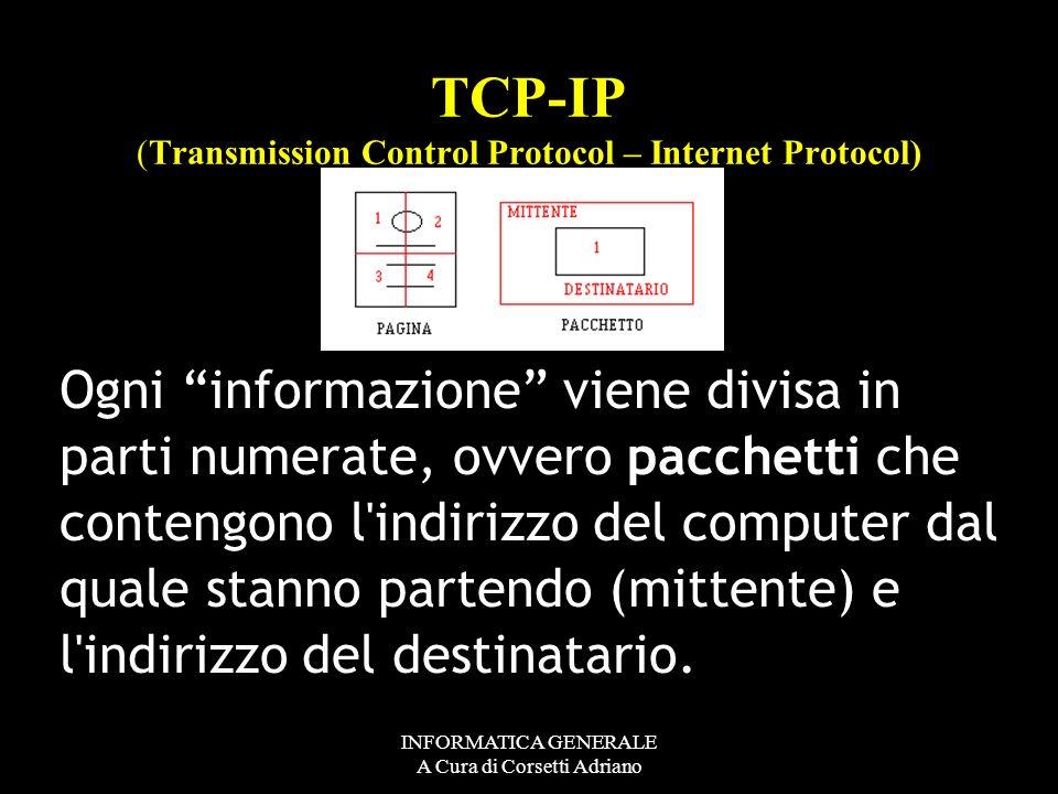 INFORMATICA GENERALE A Cura di Corsetti Adriano TCP-IP (Transmission Control Protocol – Internet Protocol) E allora con QUALE PROTOCOLLO DIALOGA INTER