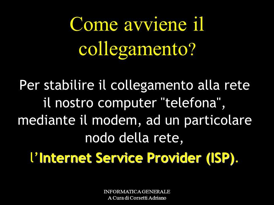 INFORMATICA GENERALE A Cura di Corsetti Adriano Cosa dobbiamo avere? - Un computer, - un modem - una linea telefonica - i programmi per collegarci a I