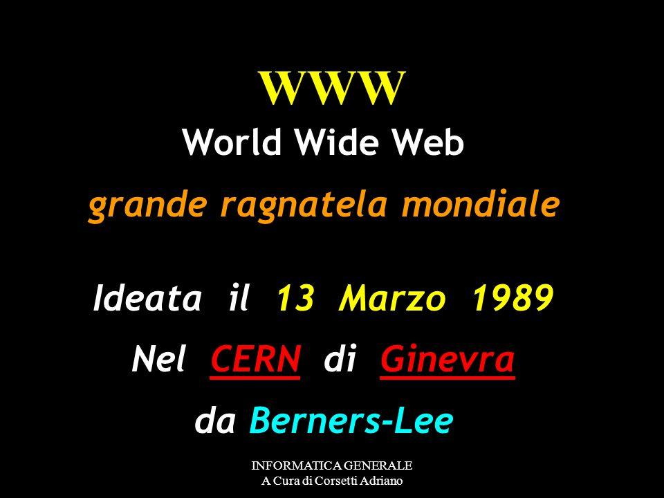 INFORMATICA GENERALE A Cura di Corsetti Adriano comunità scientifica Internet Con il tempo, Arpanet divenne sempre più uno strumento di lavoro della c