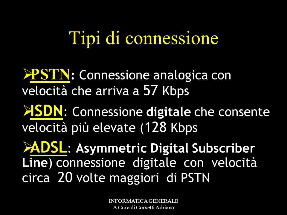 INFORMATICA GENERALE A Cura di Corsetti Adriano La procedura di collegamento La procedura di collegamento viene eseguita da un apposito programma di a