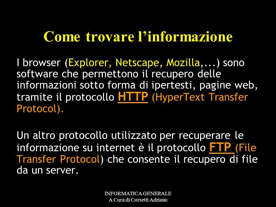 INFORMATICA GENERALE A Cura di Corsetti Adriano 4 BYTE separati da un punto Da 000.000.000.000 A 255.255.255.255 Indirizzo IP