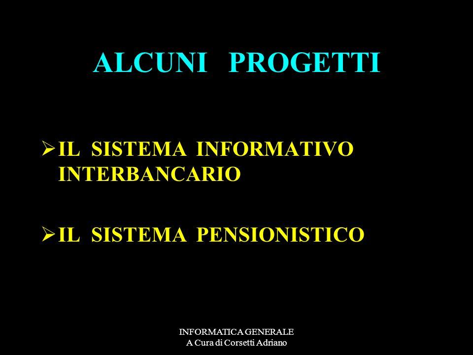 INFORMATICA GENERALE A Cura di Corsetti Adriano ALCUNI PROGETTI LA RETE MONDIALE VISTI (Nellambito dergli accordi Schengen) IL TRAKKING MISSILISTICO (